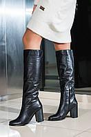 Жіночі чоботи на підборах шкіряні чорні туфлі
