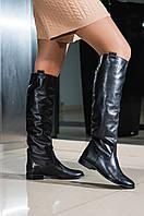 Чоботи труби жіночі демісезонні шкіряні коричневі