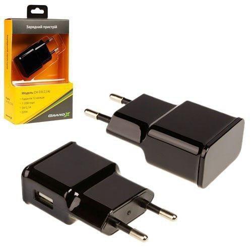 Зарядное устройство Grand-X CH-03B USB 5V 2,1A Black с защитой от перегрузки (CH-03B)