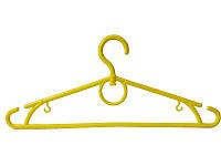 Пластмассовые плечики жёлтые 39см с перекладиной и поворотным крючком