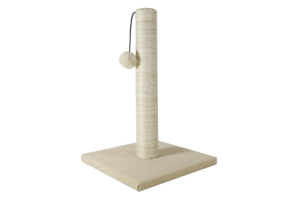 Когтеточка AnimAll с бубоном для кошек джут белая 24х24х37 см