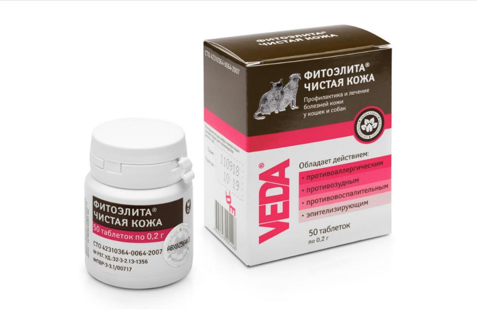 Таблетки Veda Фитоэлита Чистая кожа для лечения болезней кожи и шерстного покрова у кошек и собак 50 табл
