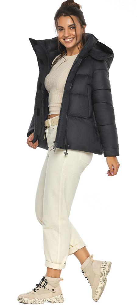 Куртка черная женская стильная осенне-весенняя с удобным капюшоном модель 43560