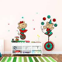 Интерьерная виниловая наклейка в детскую комнату Мишки в цирке (самоклеющаяся пленка оракал, медведи, буквы)
