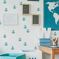 Набор виниловых наклеек в детскую Морские якоря (наклейки морская тематика интерьерные стикеры на стены обои) матовая 1000х250 мм 18 шт.