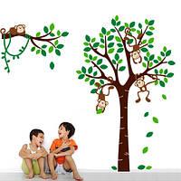 Виниловая интерьерная наклейка на стену в детскую Обезьянки на дереве (наклейки детские деревья)