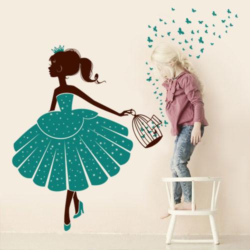 Виниловая интерьерная наклейка на стену в детскую Принцесса, детские наклейки с бабочками, самоклеющаяся декор