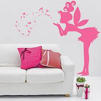 Декоративная виниловая наклейка Фея с бабочками (интерьерные наклейки детские, самоклеющиеся стикеры на стену), фото 1