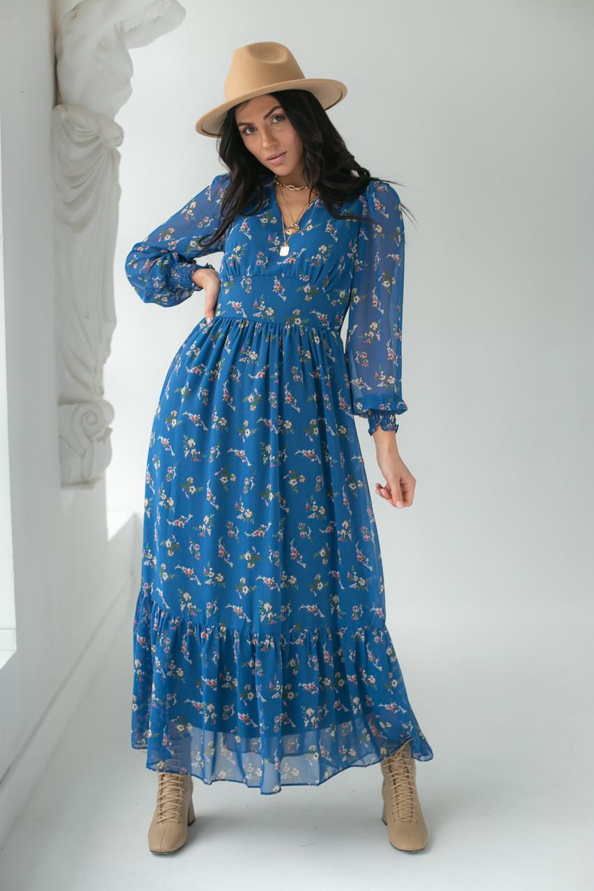 Шифоновое платье с цветочным принтом KAKTUS - синий цвет, L (есть размеры)
