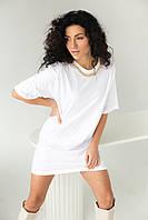 Длинная футболка с массивной золотистой цепочкой CLEW WOMAN - белый цвет, L (есть размеры), фото 1