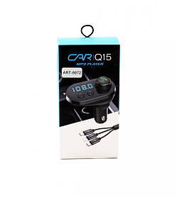 FM трансмітер MOD. CAR Q15 BT + провід: Type-C, MicroUSB, Lightning