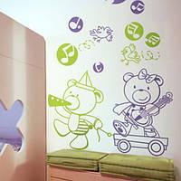 Интерьерные виниловые наклейки для детской Мишки музыканты (медведи, самоклеющаяся пленка, стикеры, декор)