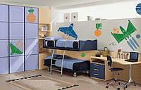Комплект виниловых интерьерных наклеек в детскую Космос (детские наклейки на стены самолеты стикеры оракал)