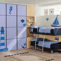 Набор декоративных наклеек в детскую Море (самоклеющаяся пленка, маяк, якорь, корабль, морской мир, стикеры)