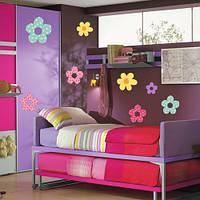 Набор виниловых интерьерных наклеек для стен Цветы в горошек (комплект детских стикеров для декора стен обои)