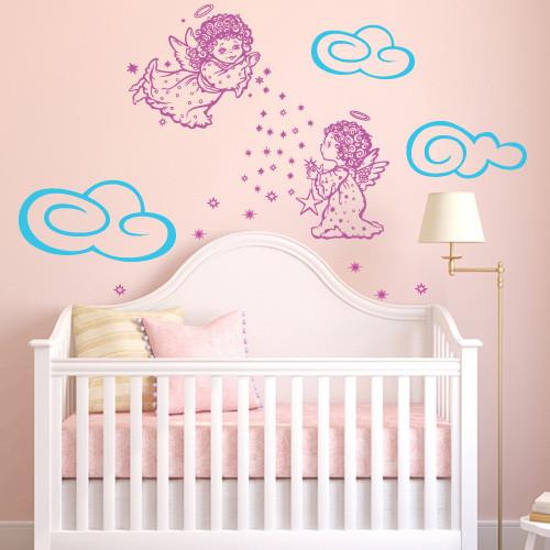 Интерьерная виниловая детская наклейка Ангельский сон (облака, ангелы, наклейки на стены обои, самоклеющаяся)