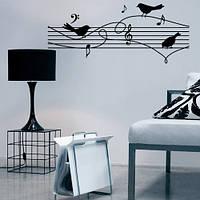 Виниловая интерьерная наклейка Птички-нотки (самоклеющиеся наклейки птицы музыка)