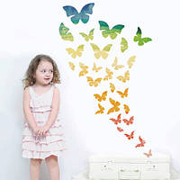 Набор виниловых интерьерных наклеек Радужные бабочки (самоклеющиеся)