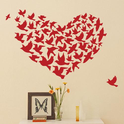 Декоративная интерьерная наклейка Сердце из птиц (наклейки птицы, винил, оракал)