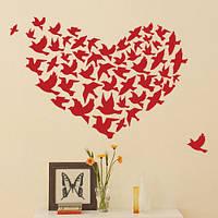 Декоративная интерьерная наклейка Сердце из птиц (наклейки птицы, винил, оракал), фото 1