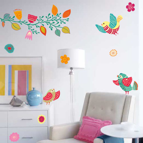Набор виниловых разноцветных наклеек Расписные птицы (яркие интерьерные наклейки)
