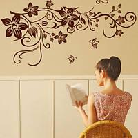 Интерьерная декоративная наклейка Завитушка с цветами (виниловая самоклеющаяся пленка)