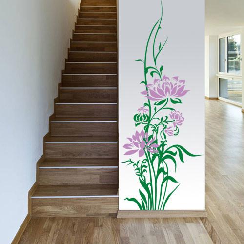 Виниловая интерьерная наклейка Нежный лотос (наклейки на стены цветы растения) матовая 400х1000 мм