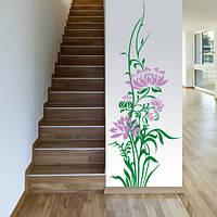 Виниловая интерьерная наклейка Нежный лотос (наклейки на стены цветы растения) матовая 400х1000 мм, фото 1