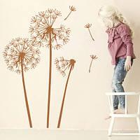 Интерьерная виниловая наклейка Три одуванчика (наклейки цветы, растения, оракал), фото 1