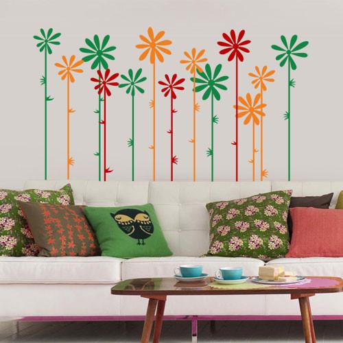 Декоративная виниловая наклейка Цветы на стеблях (наклейки растения ромашки)