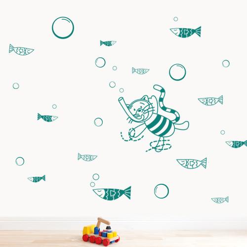 Виниловая детская наклейка Кот водолаз (наклейки на стену в детскую морская тематика, рыбы, пузыри, стикеры)
