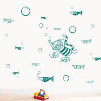 Виниловая детская наклейка Кот водолаз (наклейки на стену в детскую морская тематика рыбы пузыри стикеры) матовая 1000х520 мм