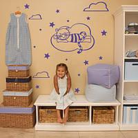 Виниловая детская наклейка для стен Кот и звездочки (наклейки в детскую комнату, звезды, самоклеющаяся пленка)