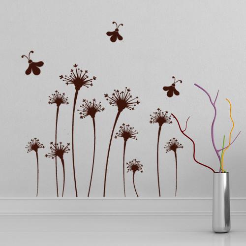 Декоративная виниловая наклейка Пчелиный танец (интерьерные наклейки цветы растения) матовая 800х675 мм