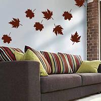 Набор виниловых наклеек Осенние листья (интерьерные декоративные наклейки на стены)