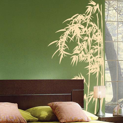 Интерьерная декоративная виниловая наклейка Бамбуковые заросли (наклейки растения трава) матовая 485х1000 мм