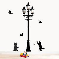 Интерьерная виниловая наклейка Котята у фонаря (самоклеющиеся наклейки животные), фото 1