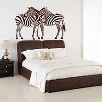 Виниловая интерьерная наклейка Африканская любовь (наклейки животные зебры)