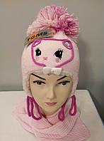 """Зимний вязаный комплект """"Кися"""" шапка шарф."""