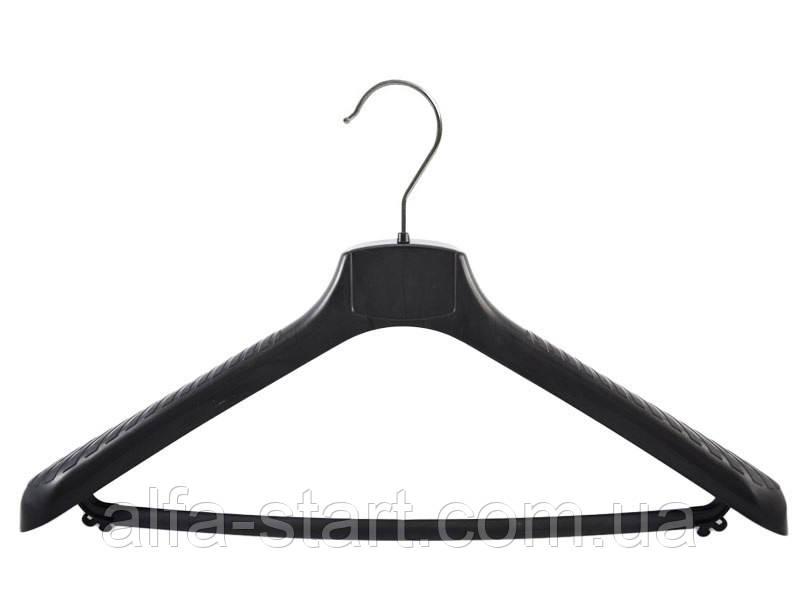 Чёрная вешалка плечико 42см из пластика для верхней одежды с перекладиной