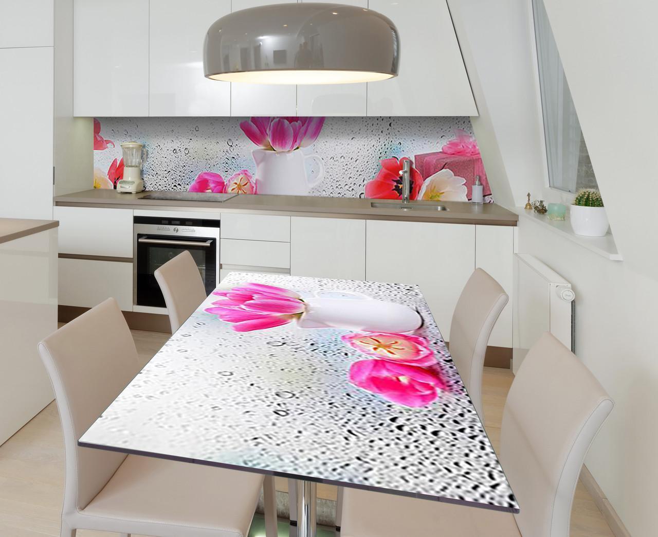 Наклейка 3Д виниловая на стол Zatarga «Кувшинчик с тюльпанами» 650х1200 мм для домов, квартир, столов, кофейн,
