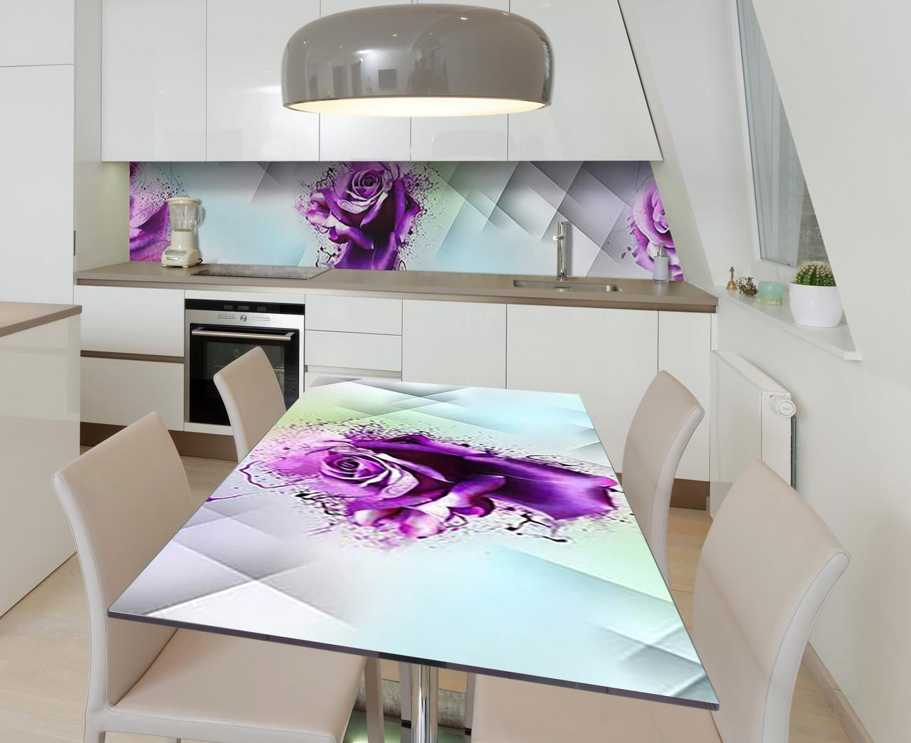 Наклейка 3Д виниловая на стол Zatarga «Фиолетовое сумасшествие» 650х1200 мм для домов, квартир, столов,
