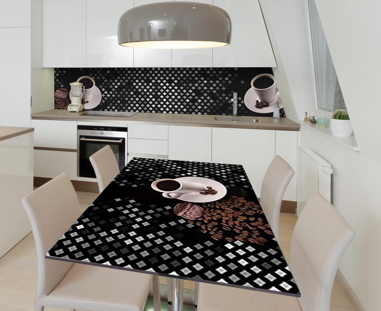Наклейка 3Д виниловая на стол Zatarga «Кофе и серебро» 600х1200 мм для домов, квартир, столов, кофейн, кафе