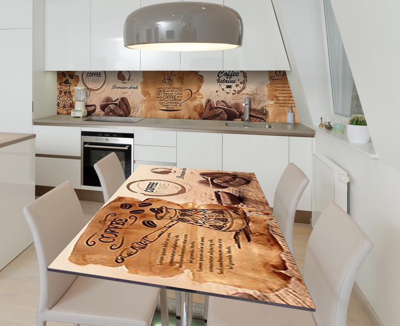 Наклейка 3Д виниловая на стол Zatarga «Кофейная карта» 650х1200 мм для домов, квартир, столов, кофейн, кафе
