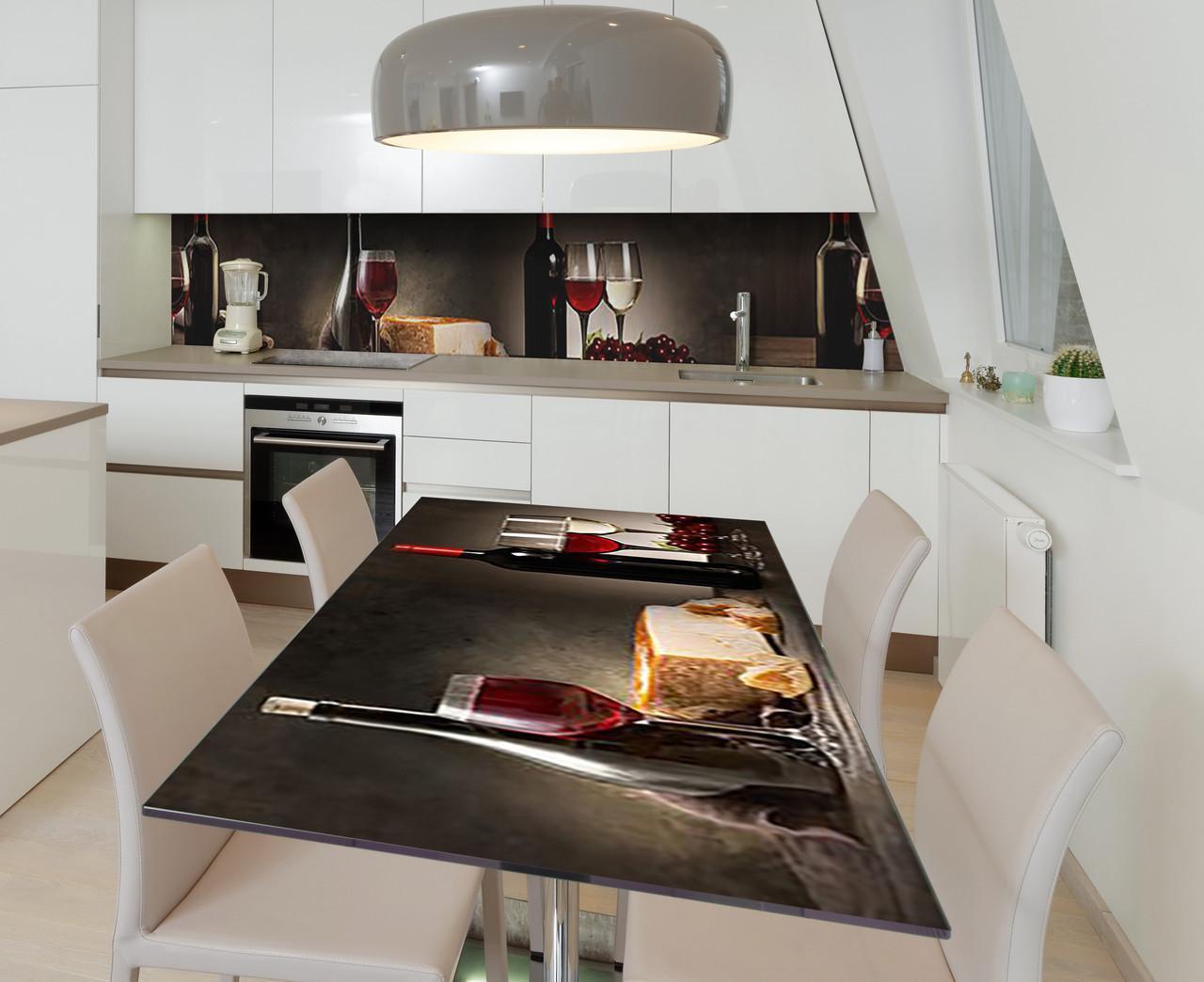 Наклейка 3Д виниловая на стол Zatarga «Винный дуэт» 600х1200 мм для домов, квартир, столов, кофейн, кафе