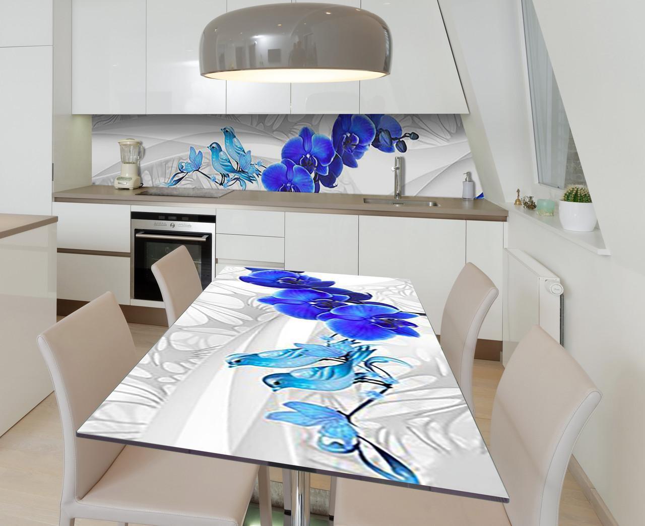 Наклейка 3Д виниловая на стол Zatarga «Бирюзовые звоночки» 600х1200 мм для домов, квартир, столов, кофейн,