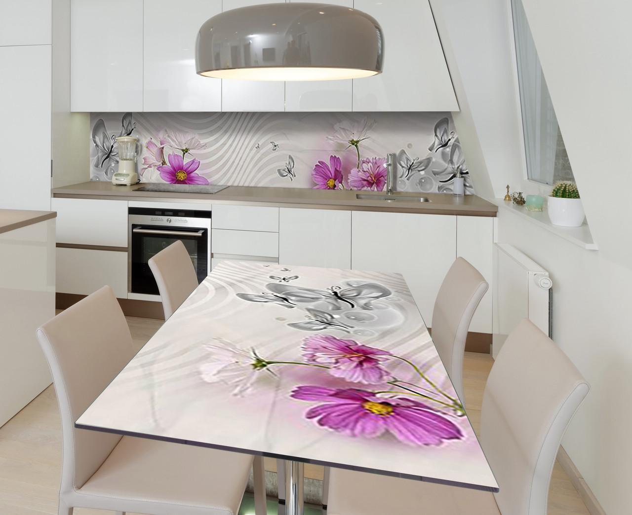 Наклейка 3Д виниловая на стол Zatarga «Серебрянные волны» 600х1200 мм для домов, квартир, столов, кофейн, кафе