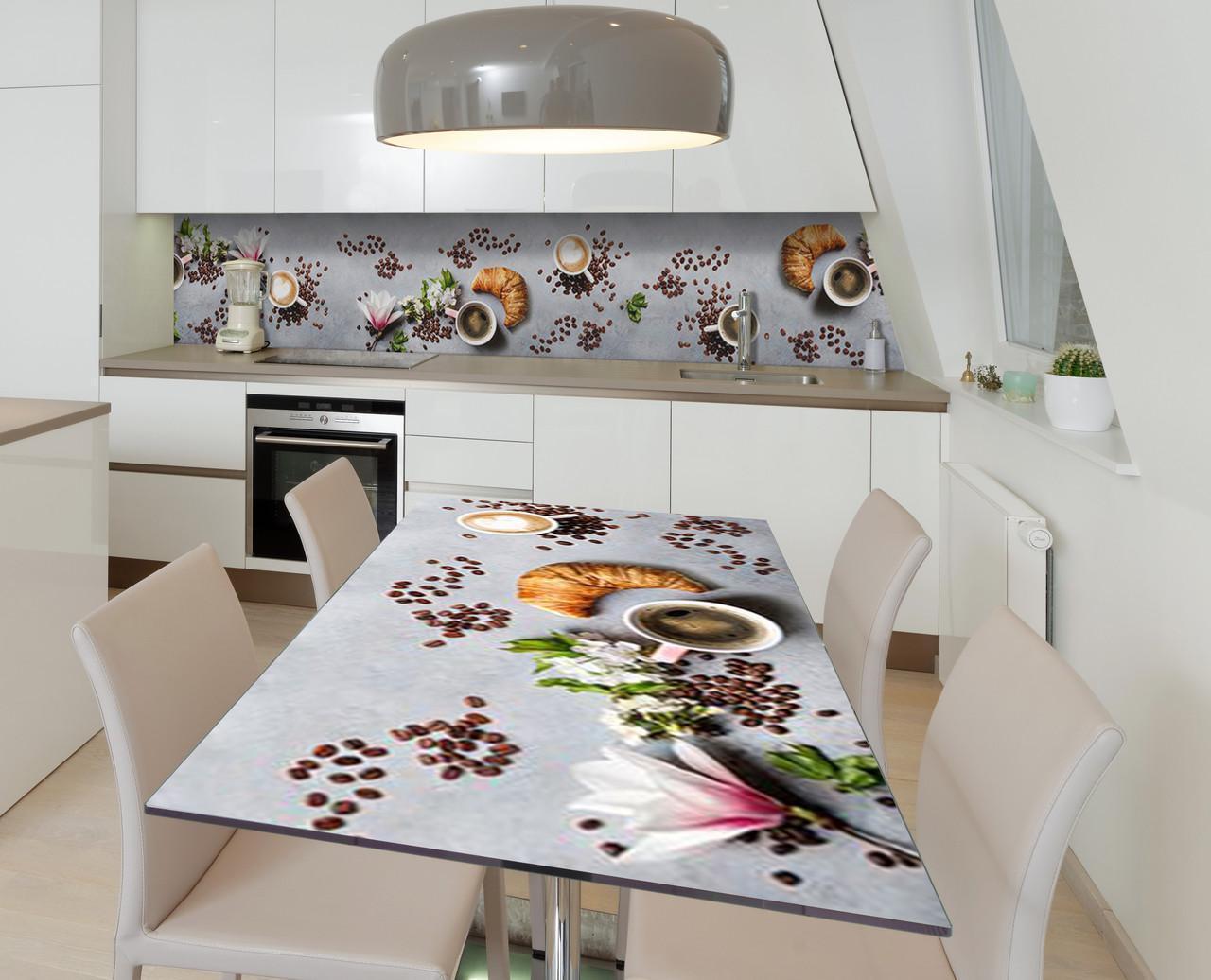 Наклейка 3Д виниловая на стол Zatarga «Круассан и магнолия» 650х1200 мм для домов, квартир, столов, кофейн,