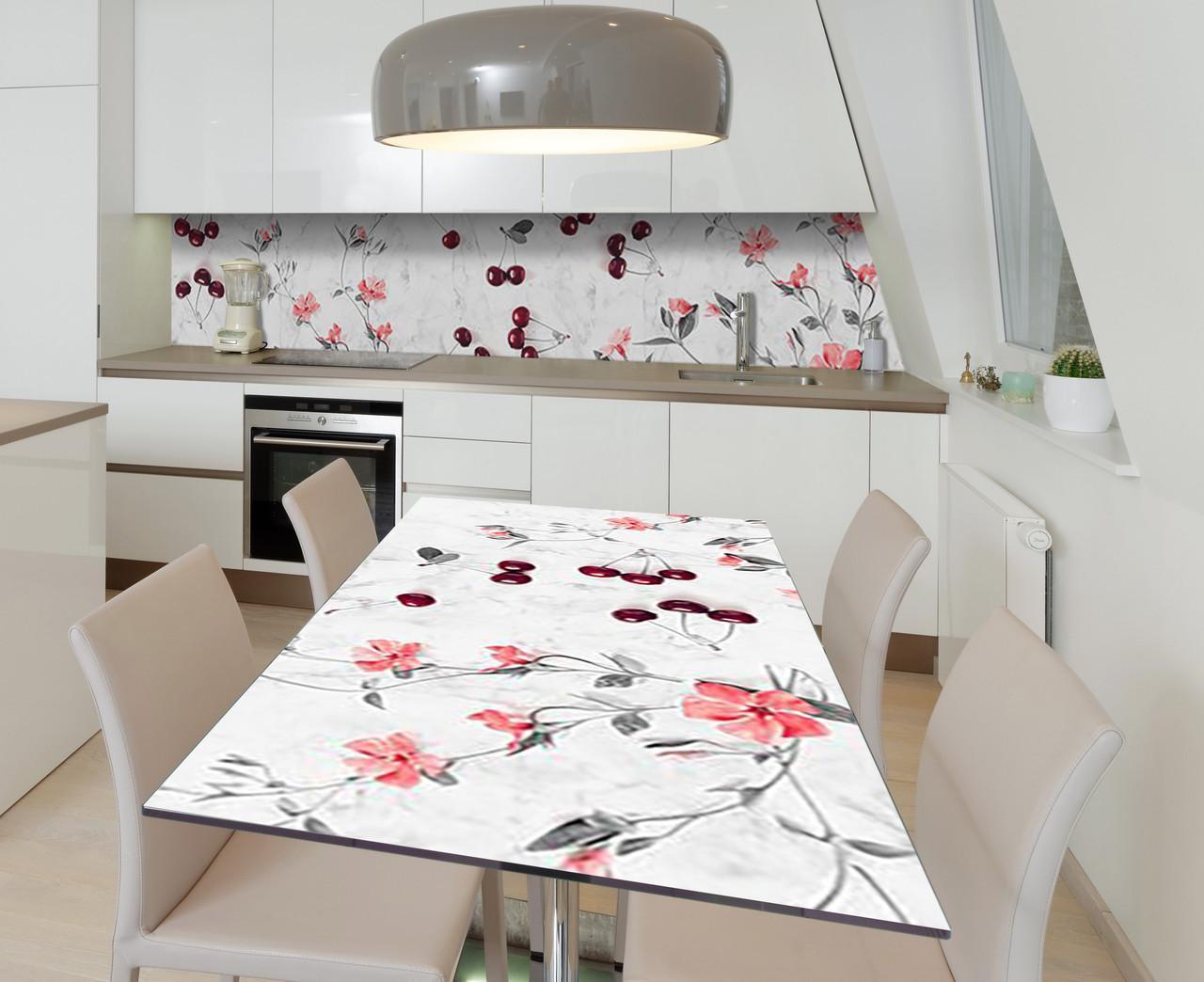Наклейка 3Д виниловая на стол Zatarga «Черешневый акцент» 600х1200 мм для домов, квартир, столов, кофейн, кафе