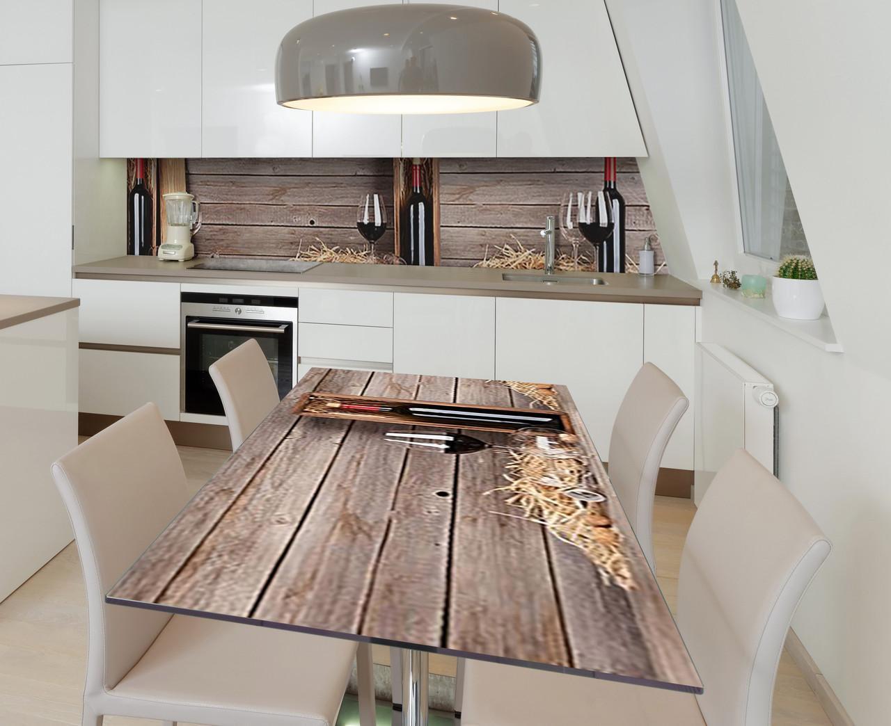 Наклейка 3Д виниловая на стол Zatarga «Подарочная бутылка» 600х1200 мм для домов, квартир, столов, кофейн,